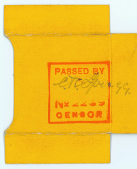 Censor stamp. Spragg family papers.